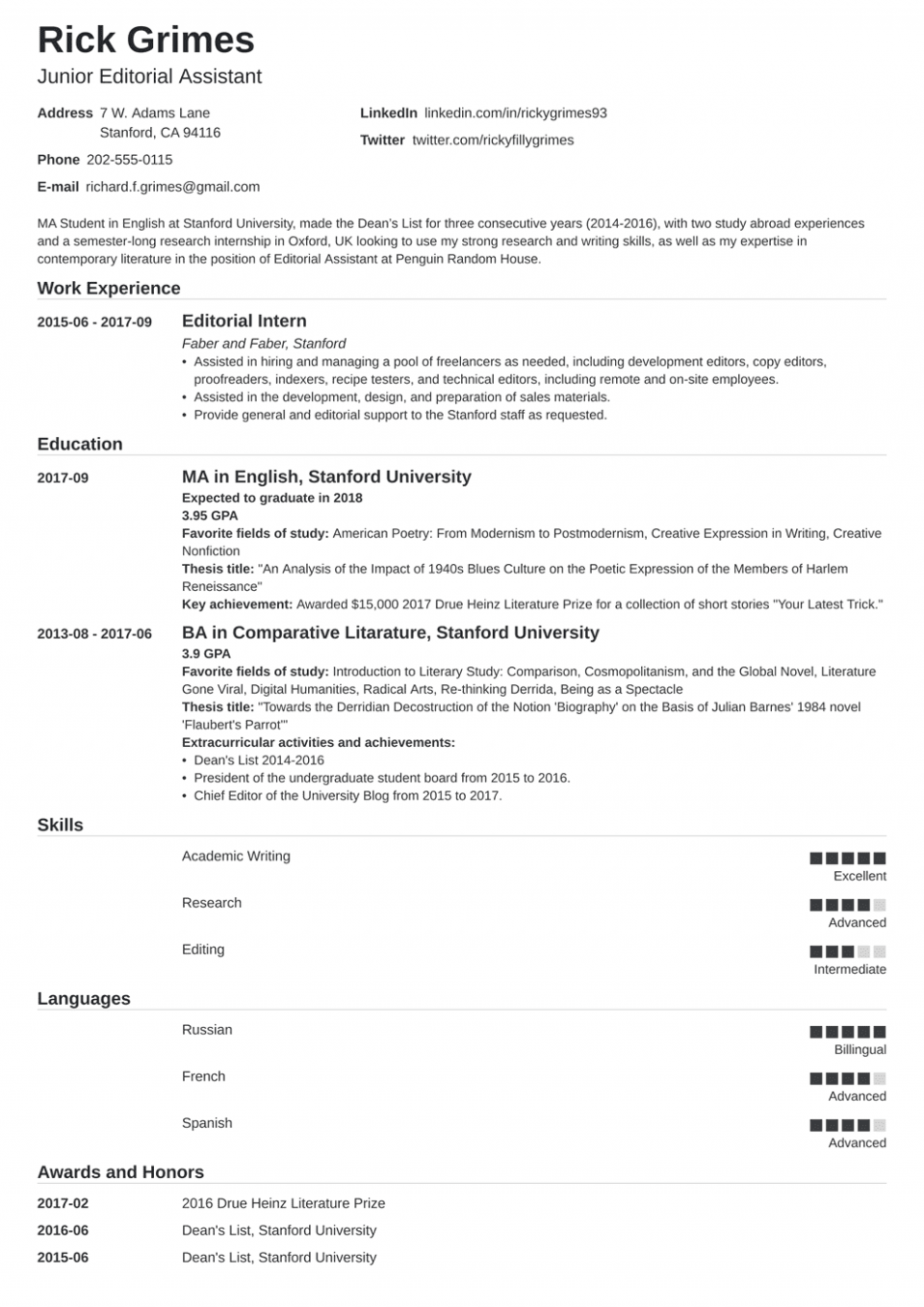 12 Younger Scholar Resume