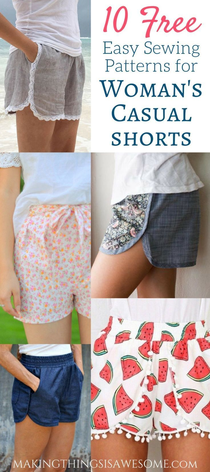 10 Free Woman s Casual Shorts Sewing Patterns Round up Making Things is Awesome