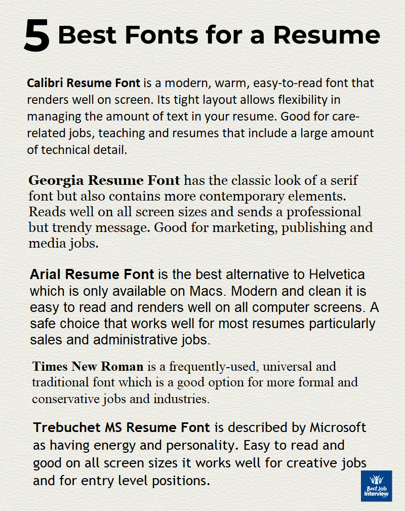 Best Font for Resume 2020 the right font type and size