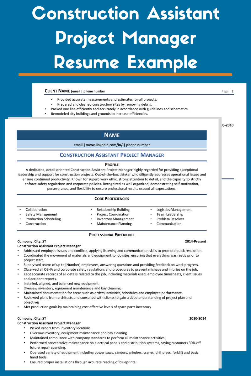 Construction Assistant Project Manager Resume Example & Guide 2021
