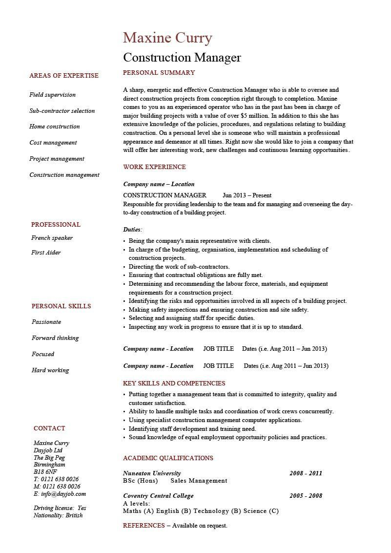 Nice Construction Resume Template