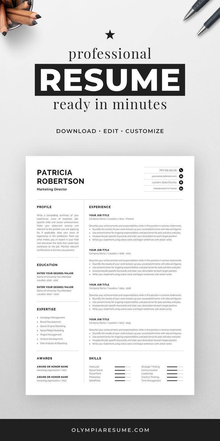 Professional 1 Page Resume Template Modern e Page CV Word & Mac Pages