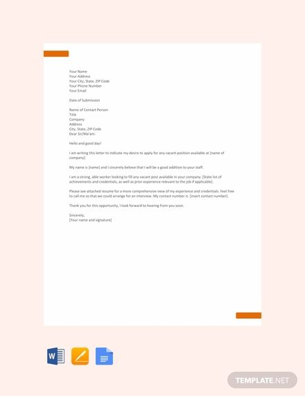 FREE Application Letter Template For Any Position PDF Word DOC Apple MAC Pages