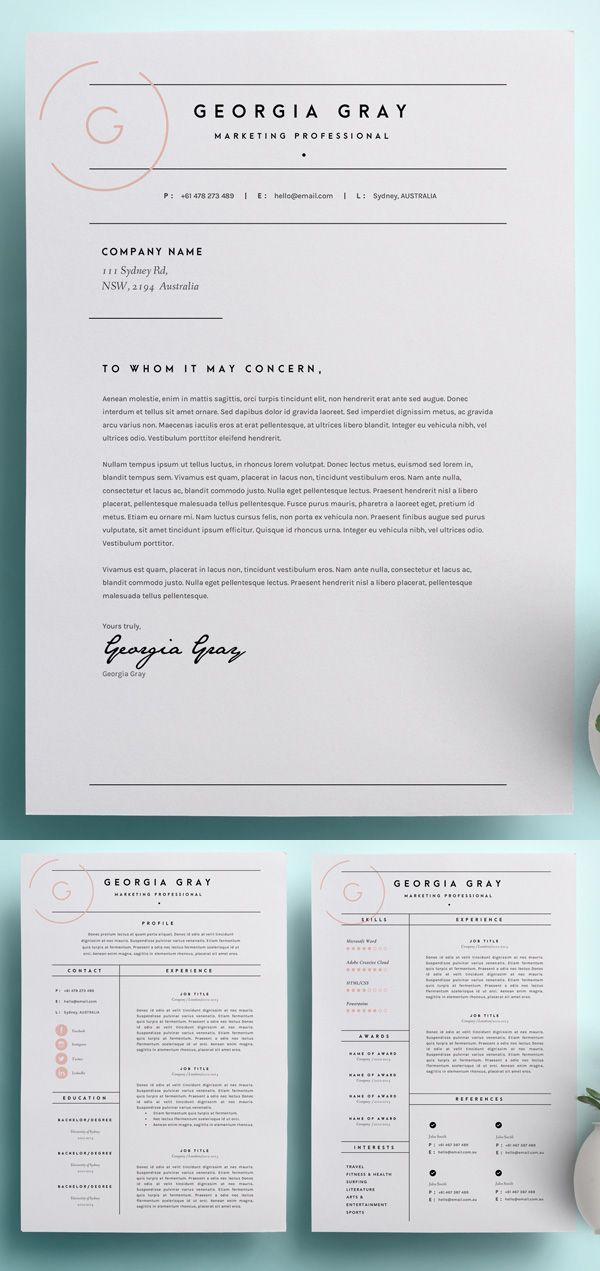 Resume Template with Cover Letter CV Template MS Word Design Instant Digital Download