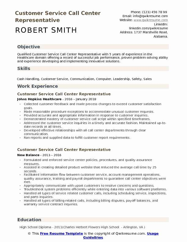 10 Customer Service Call Center Resume Free Templates