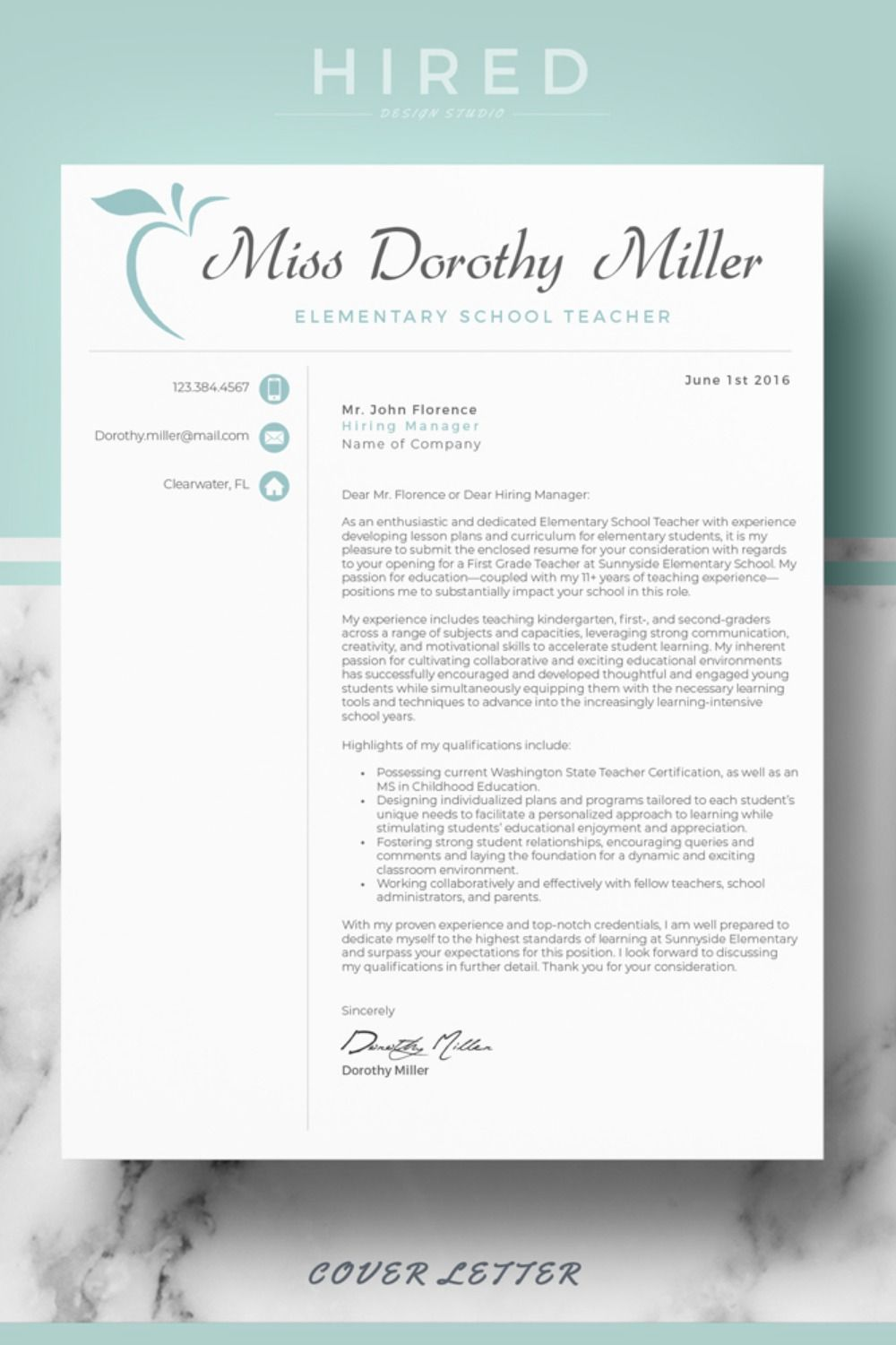 Cover Letter format for Elementary Teacher CV Resume Template Layout References page