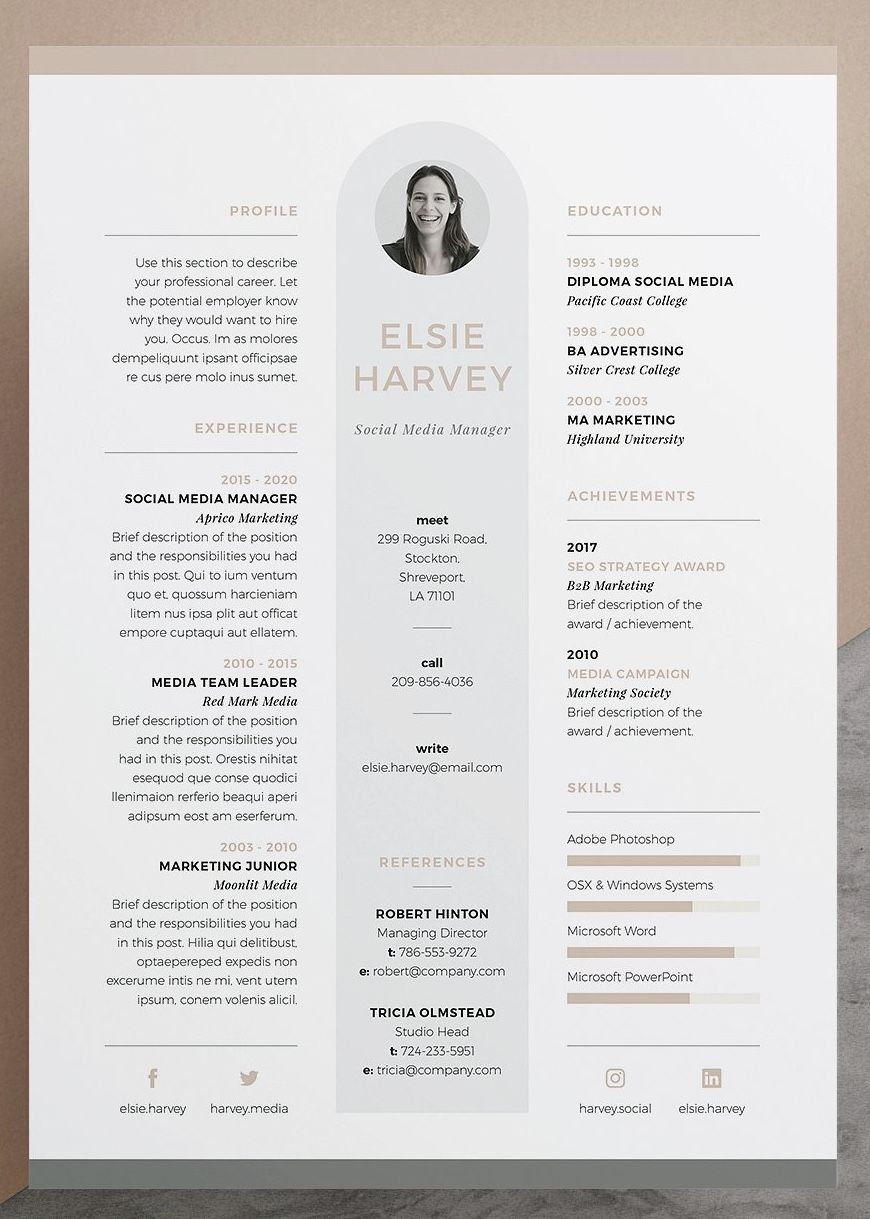 Resume CV Template Elsie Our design 'Elsie' contains a professional pact design with matching cover letter for those looking for a high impact presentation Everything is editable including fonts and colors so be sure to personalize to suit your needs Move and duplicate elements and make the design your own