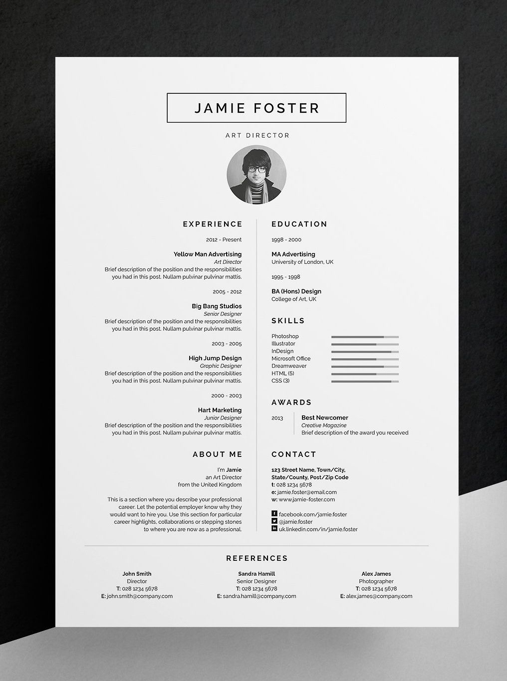 Professional Resume CV and cover letter template A beautiful vertical design with a small photo Including a single page resume cv and cover letter