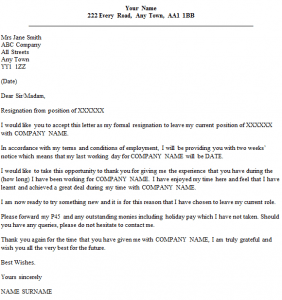 Formal Resignation Letter Example With Two Weeks' Notice icover