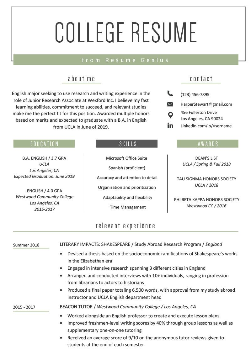 High School Student Resume for College Fresh College Student Resume Sample & Writing Tips