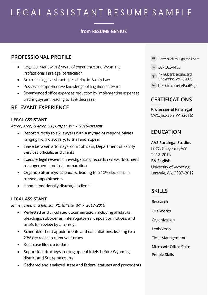 Legal Assistant Resume Example & Writing Tips
