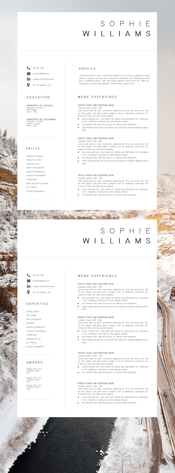 New CV Template Resume Template Minimalist Professional CV Design Resume Template Instant Download Word