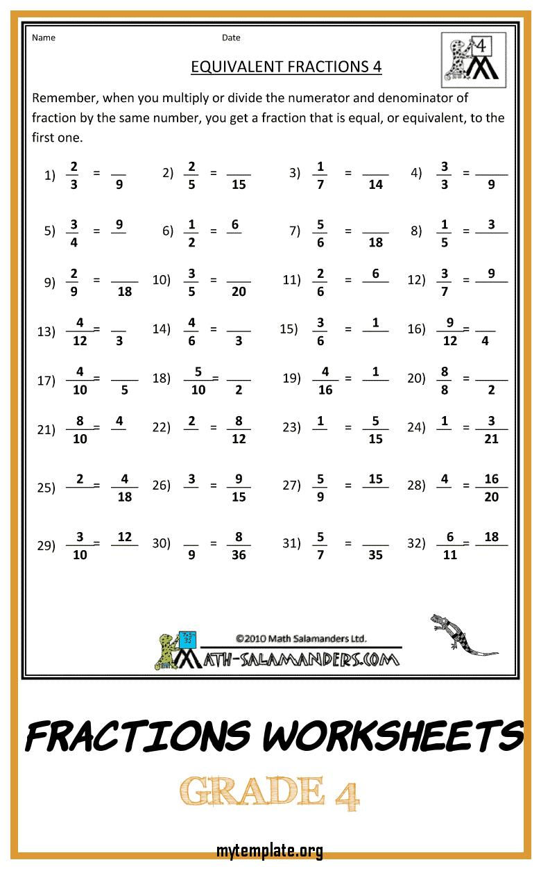 medium resolution of Grade 4 Math Worksheets Fractions   www.robertdee.org