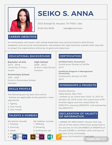 FREE College Resume CV Template Word DOC PSD InDesign Apple MAC Pages Illustrator