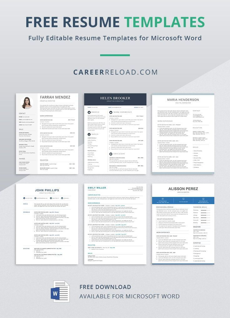 Free Resume Templates for Word Free Download
