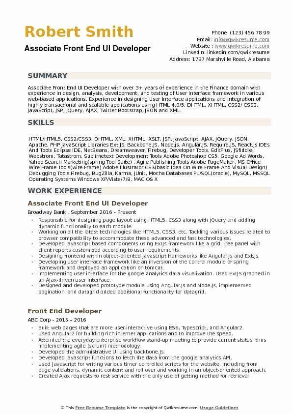 Entry Level Web Developer Resume Beautiful Front End Ui Developer Resume Samples