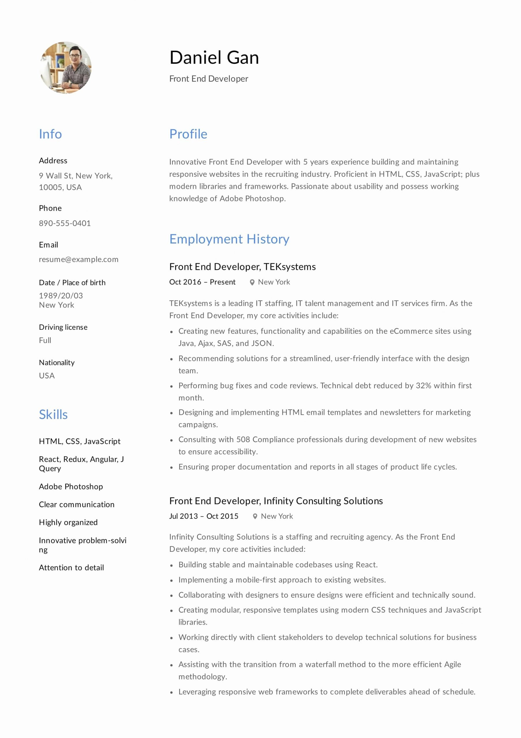 Front End Developer Resume Template Beautiful Guide Front End Developer Resume [ 12 Samples ] Pdf