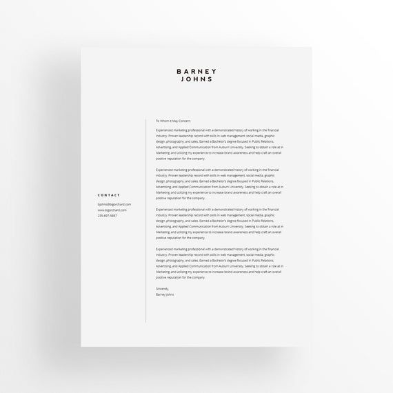 Minimalist Cover Letter Template Editable Design Professional CV Instant Download MS Word Mac Pages Google Docs