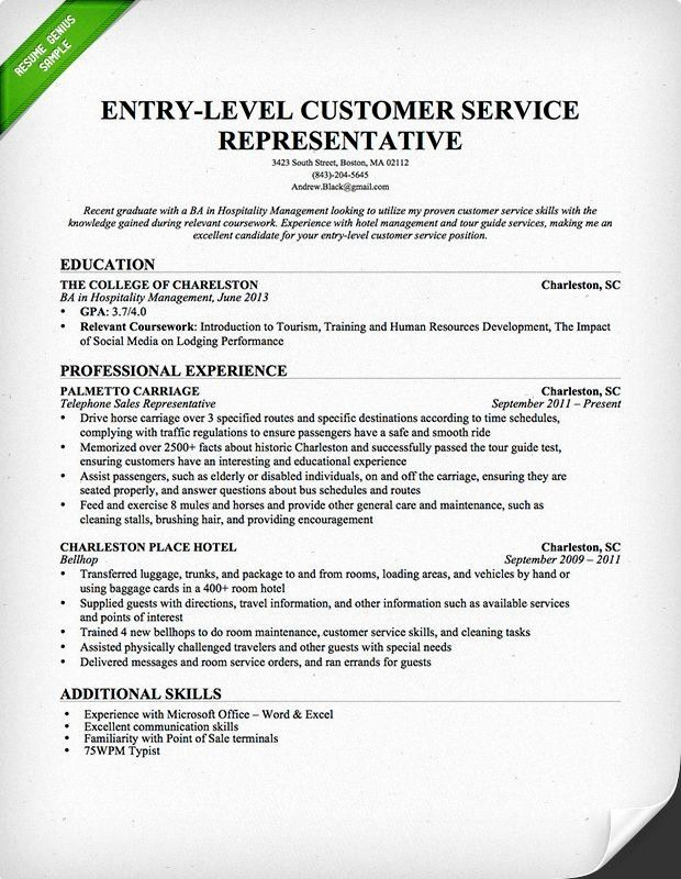 Entry Level Customer Service Resume Luxury Entry Level Customer Service Representative Resume