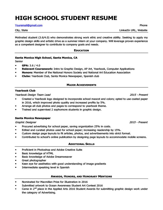 High School Resume Template & Writing Tips