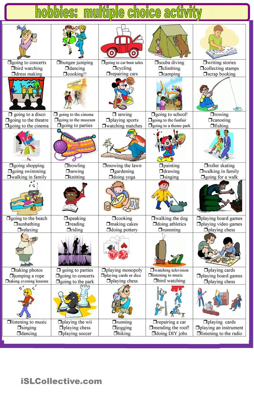 Hobbies and pastimes multiple choice activities