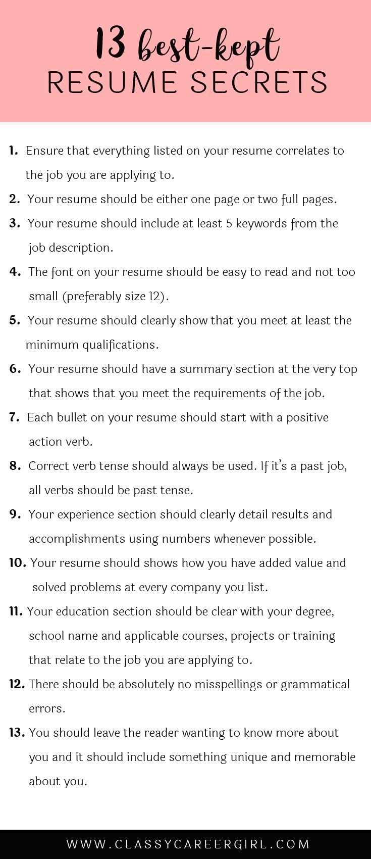 Here are 13 resume secrets that will turn your resume from boring to AWESOME These secrets truly are important to stand out from your petition