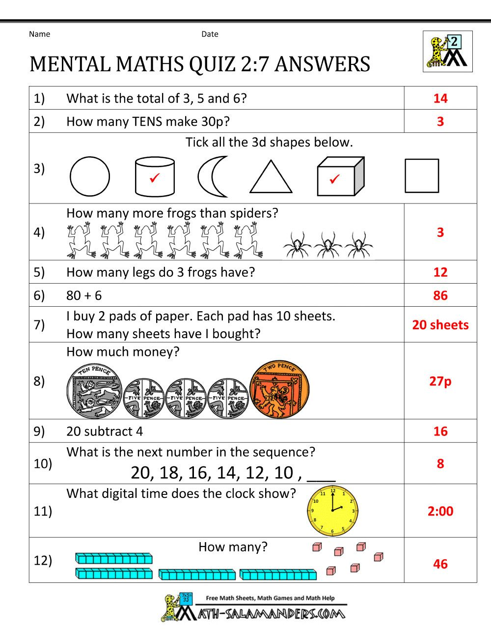 medium resolution of 9 Mental Maths Worksheets for Class 1 - Free Templates