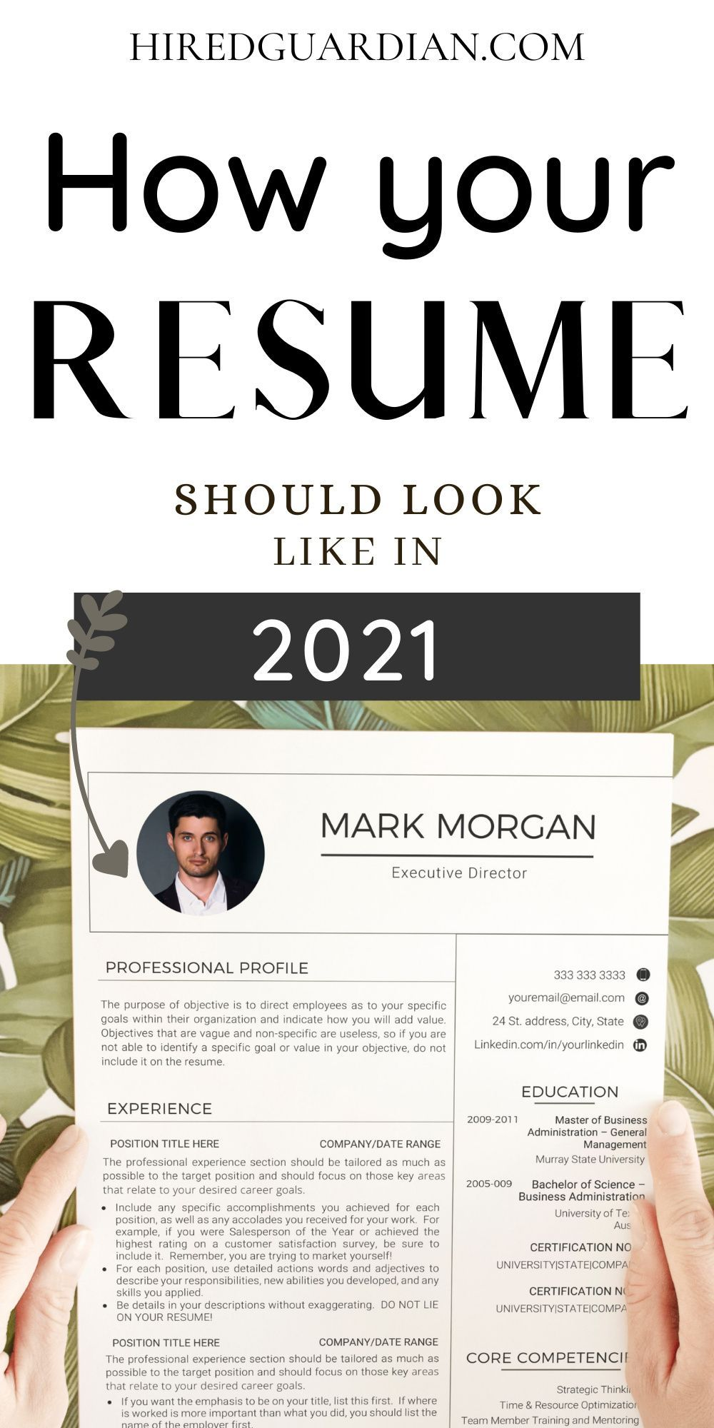 Executive Resume Template Word CV Template for Word Resume