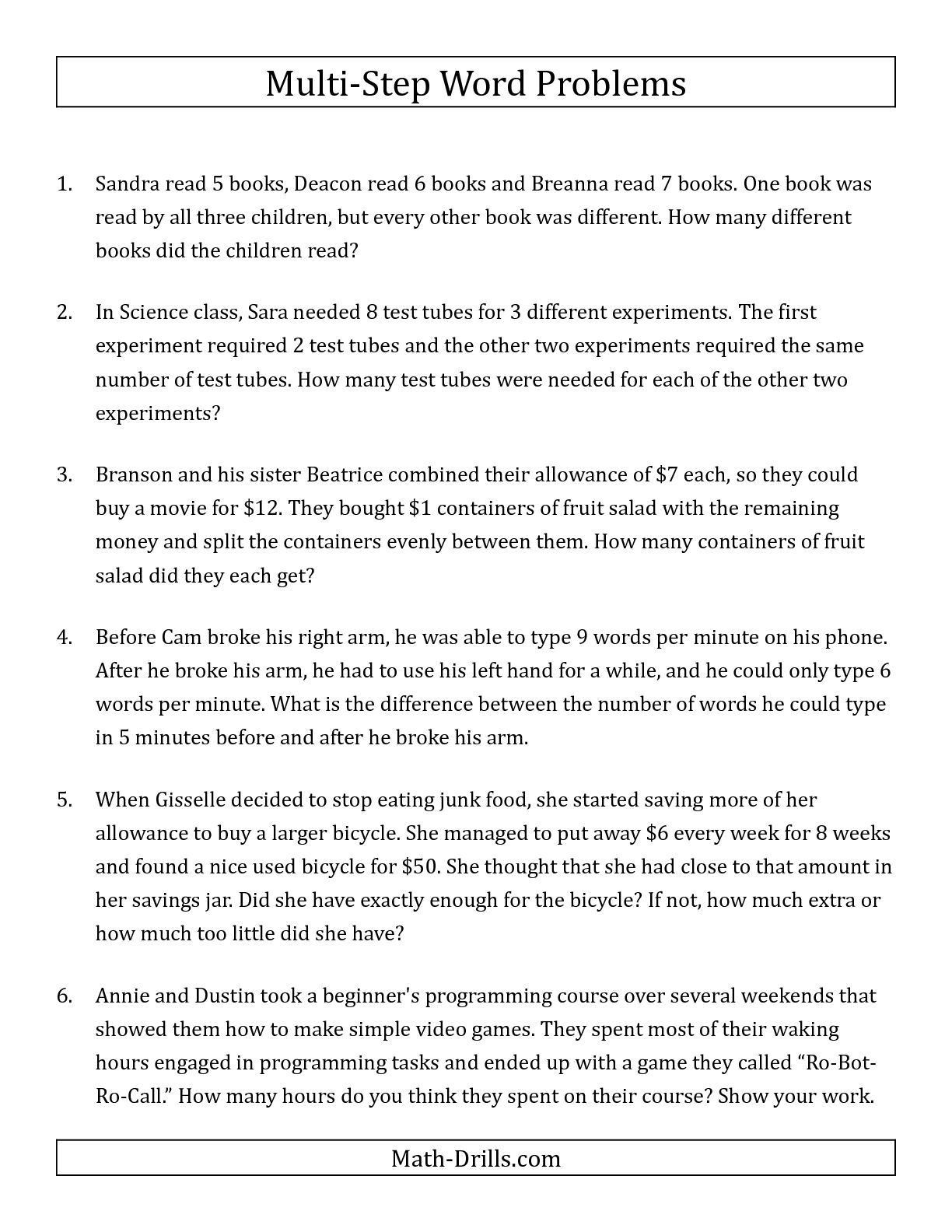 small resolution of Multiplication Word Problems Grade 4 Of 5 Word Problems Printable Worksheets  - Free Templates