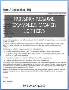 Nursing Resume Examples Cover Letters Of Cover Letter Hospital Nurse
