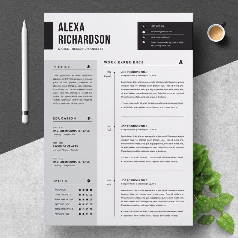 Two Pages Modern and Professional CV Resume Template with Cover Letter