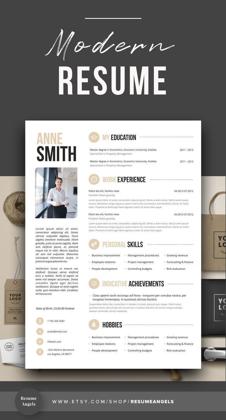 Professional Resume Template Clean & Modern Resume Template 1 2 page resume template Instant Download Resume CV Template for Word
