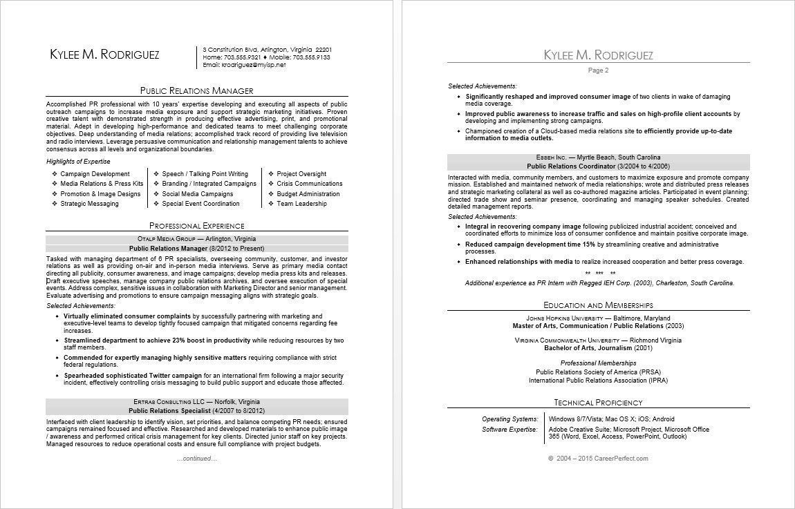 Hiring Manager Resume Sample Up to date Sample Resume for A Public Relations Manager 36 Sp
