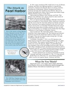 In this worksheet your student will be asked to analyze the influence of the on Pearl Harbor on Americans US history Printables Worksheets Social stu s