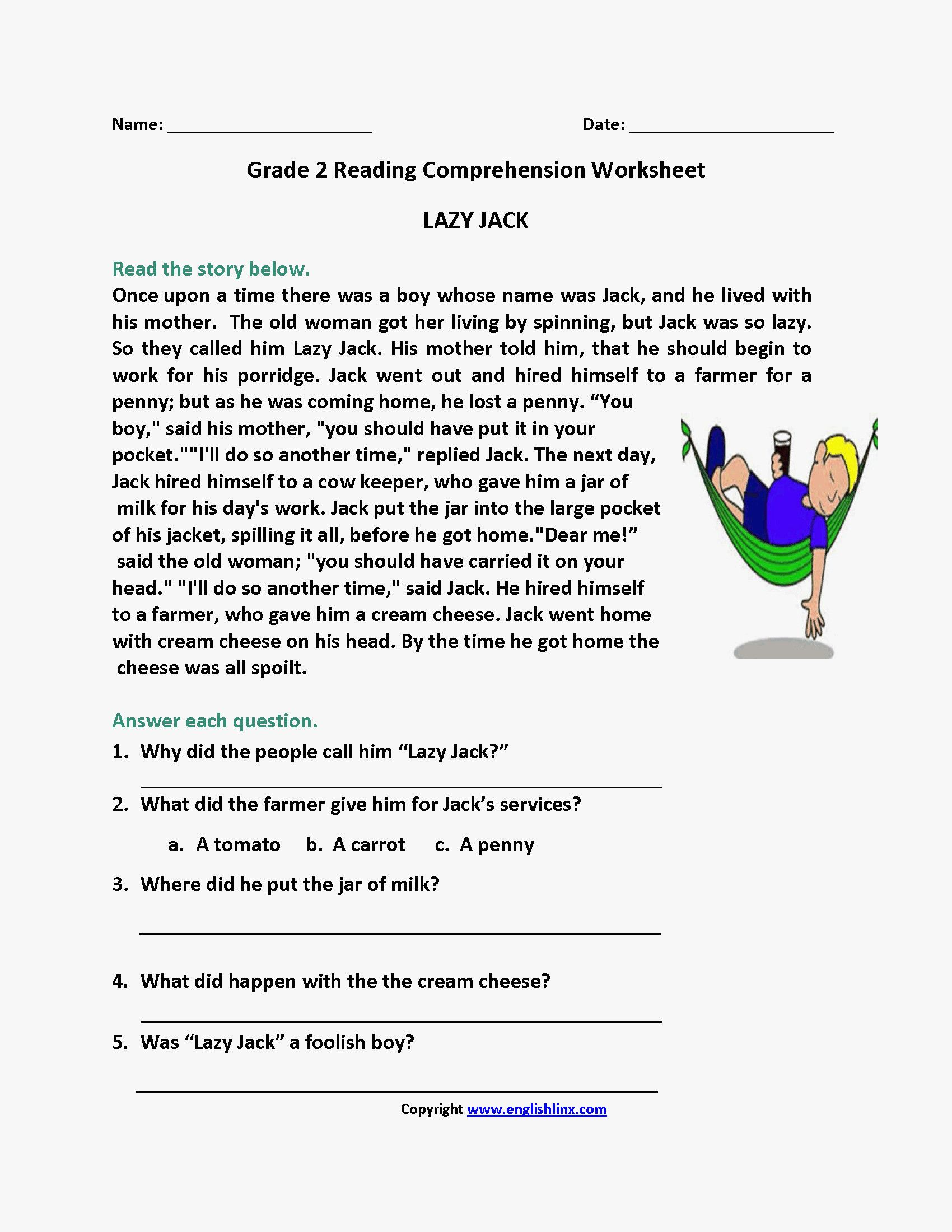 10 Reading Comprehension Worksheets for 2nd Grade - Free Templates [ 2200 x 1700 Pixel ]