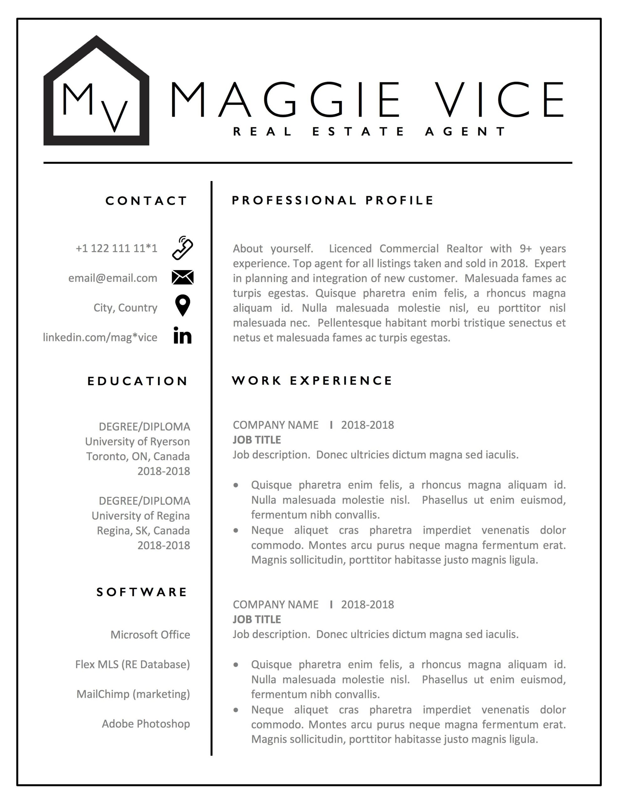 Realtor Resume Design