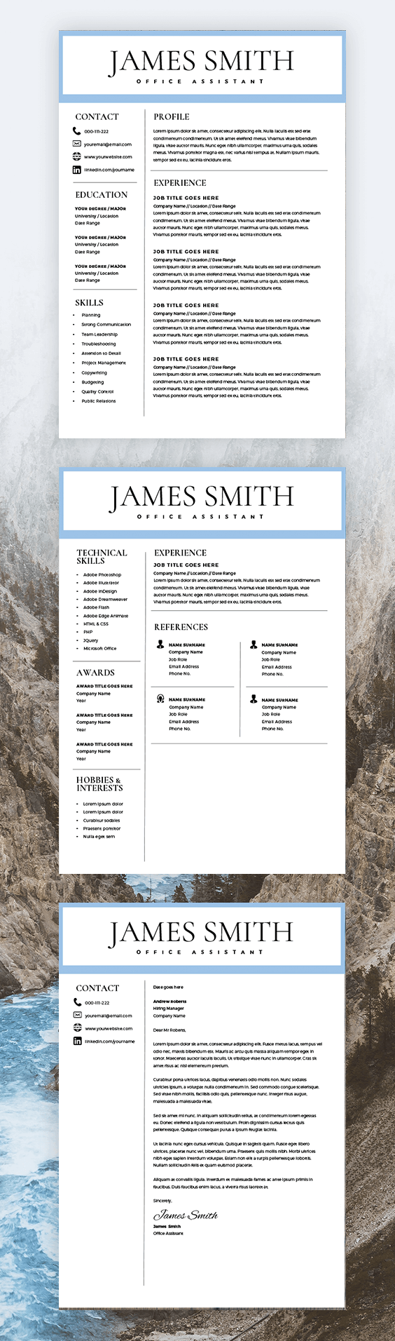 Resume Template for Men Writer Resume Template for Word & Pages 2 Pages Resume Cover Letter Curriculum Vitae Instant Download CV