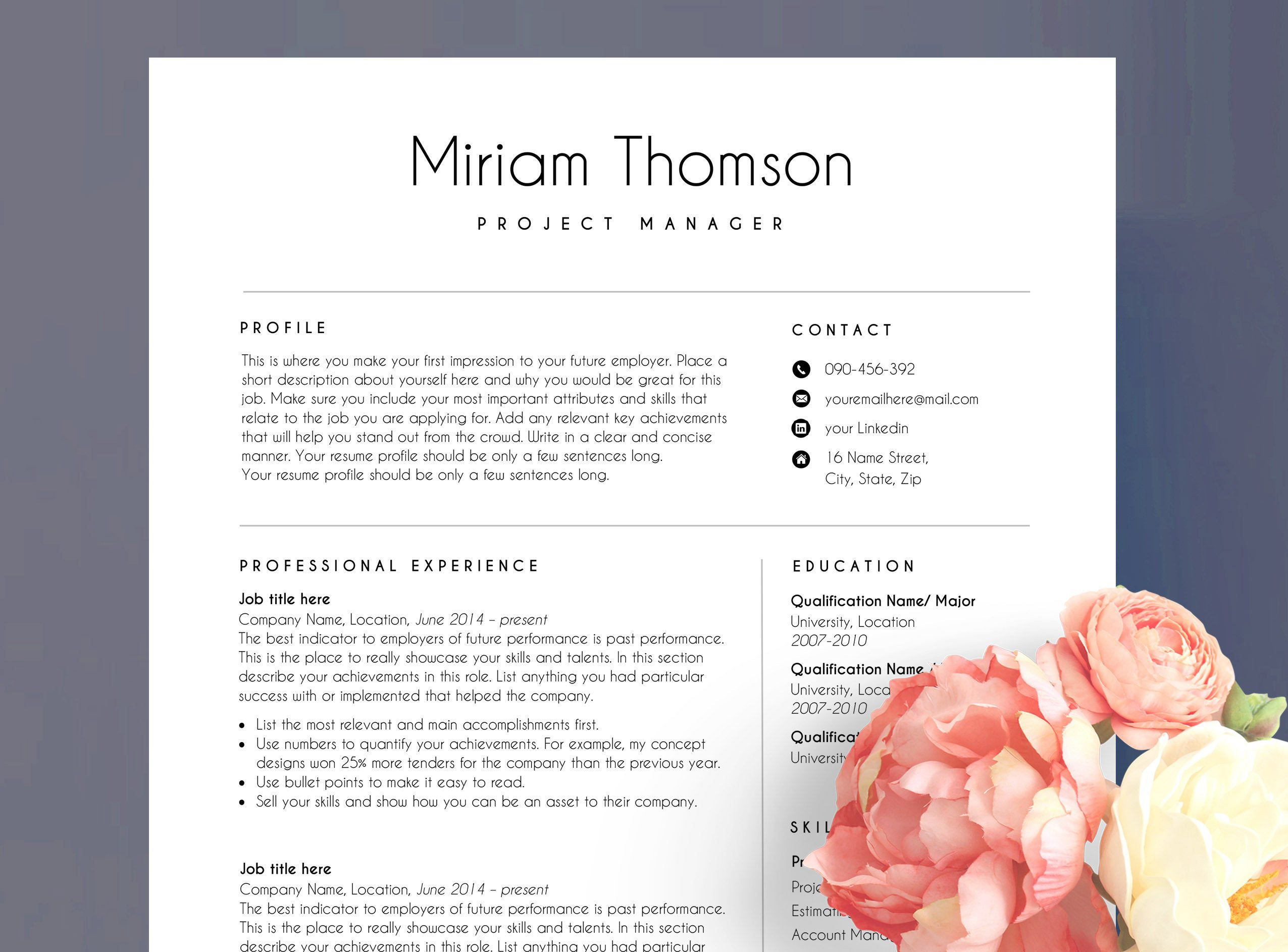 Resume template word Cover Letter CV Template Professional Resume Template Word Resume Templates Minimalist Resume Pages
