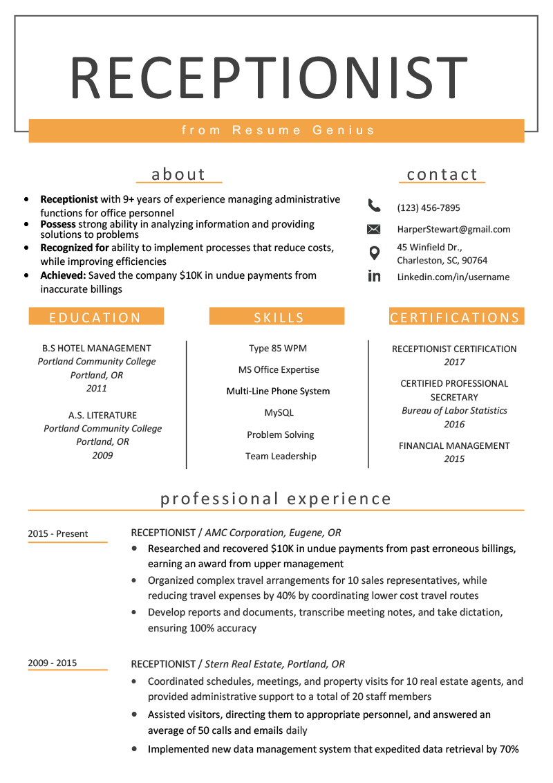 Receptionist Resume Sample & Writing Guide