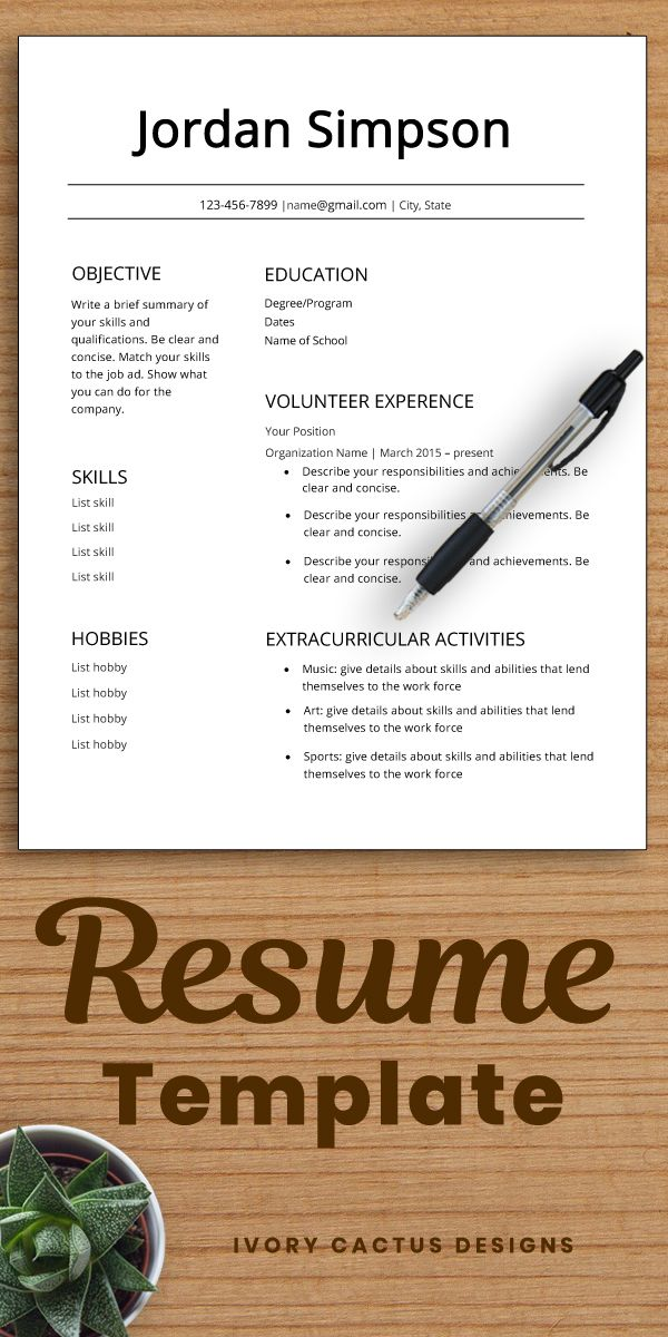 Student Resume Template
