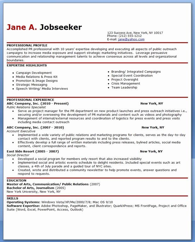 Public Relations Resume Examples Best Sample Resume for Public Relations Ficer
