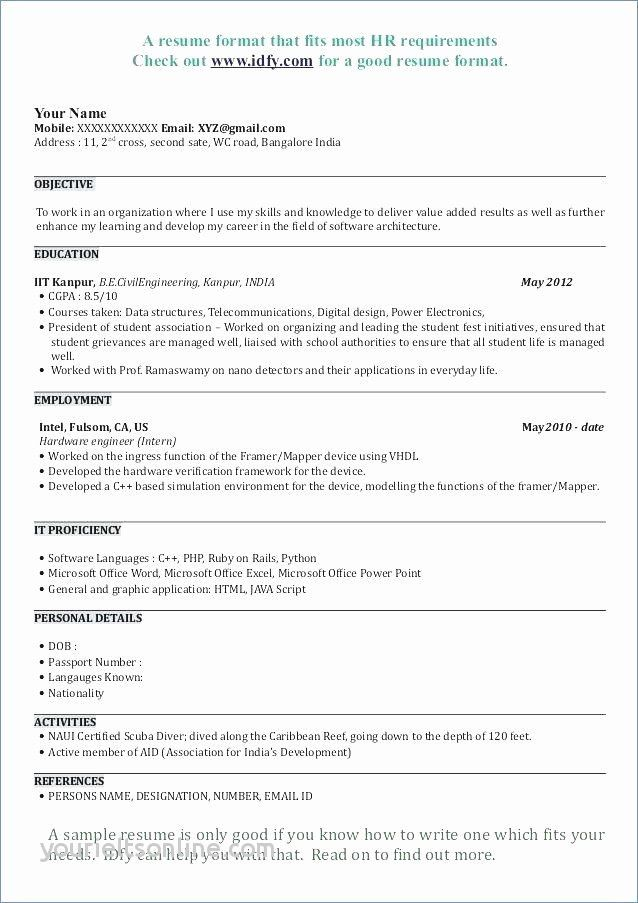 resume format for architecture internship of resume