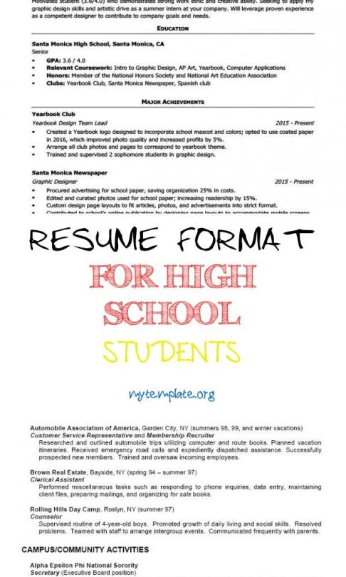 7 Resume Format For High School Students Free Templates
