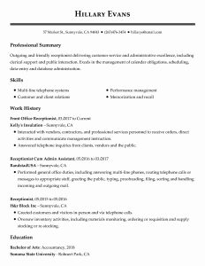 Resume Sample for Front Desk Receptionist Of Front Desk Receptionist Resume New View 30 Samples Resumes by Industry & Experience Level