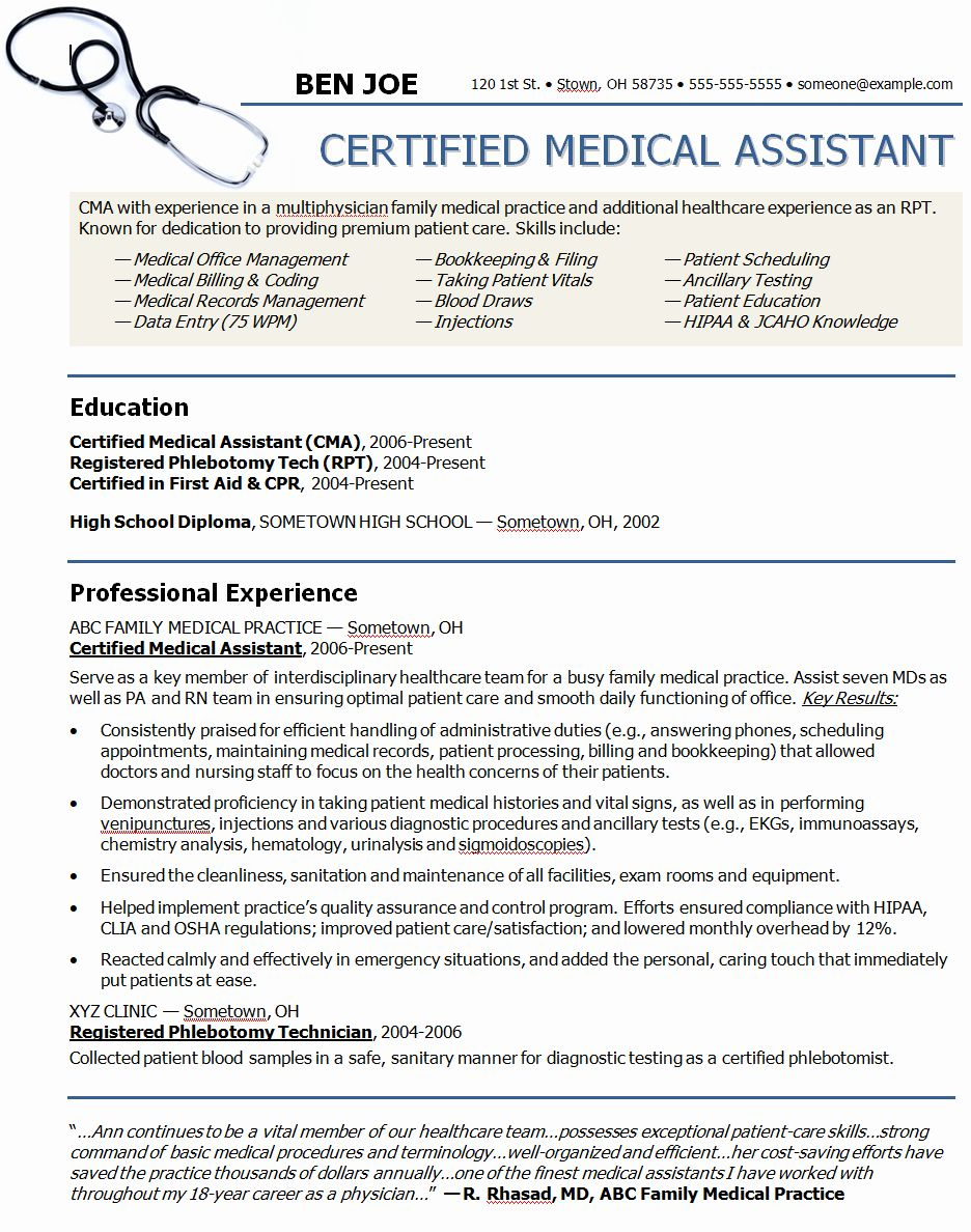 Medical assistant Resume Template Lovely Resume and Cv Templates Career Related