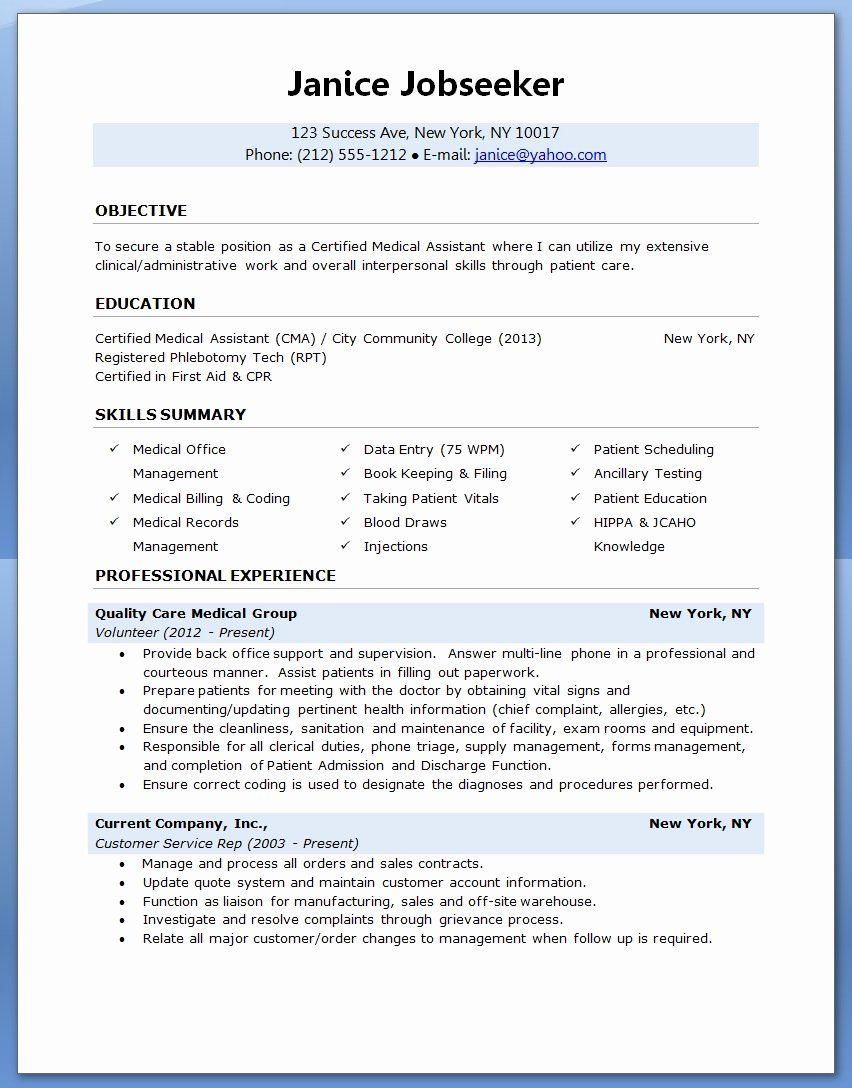 Medical assistant Resume Template Lovely Sample A Medical assistant Resume 2016