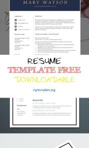 Resume Template Free Downloadable Of Free Resume Template