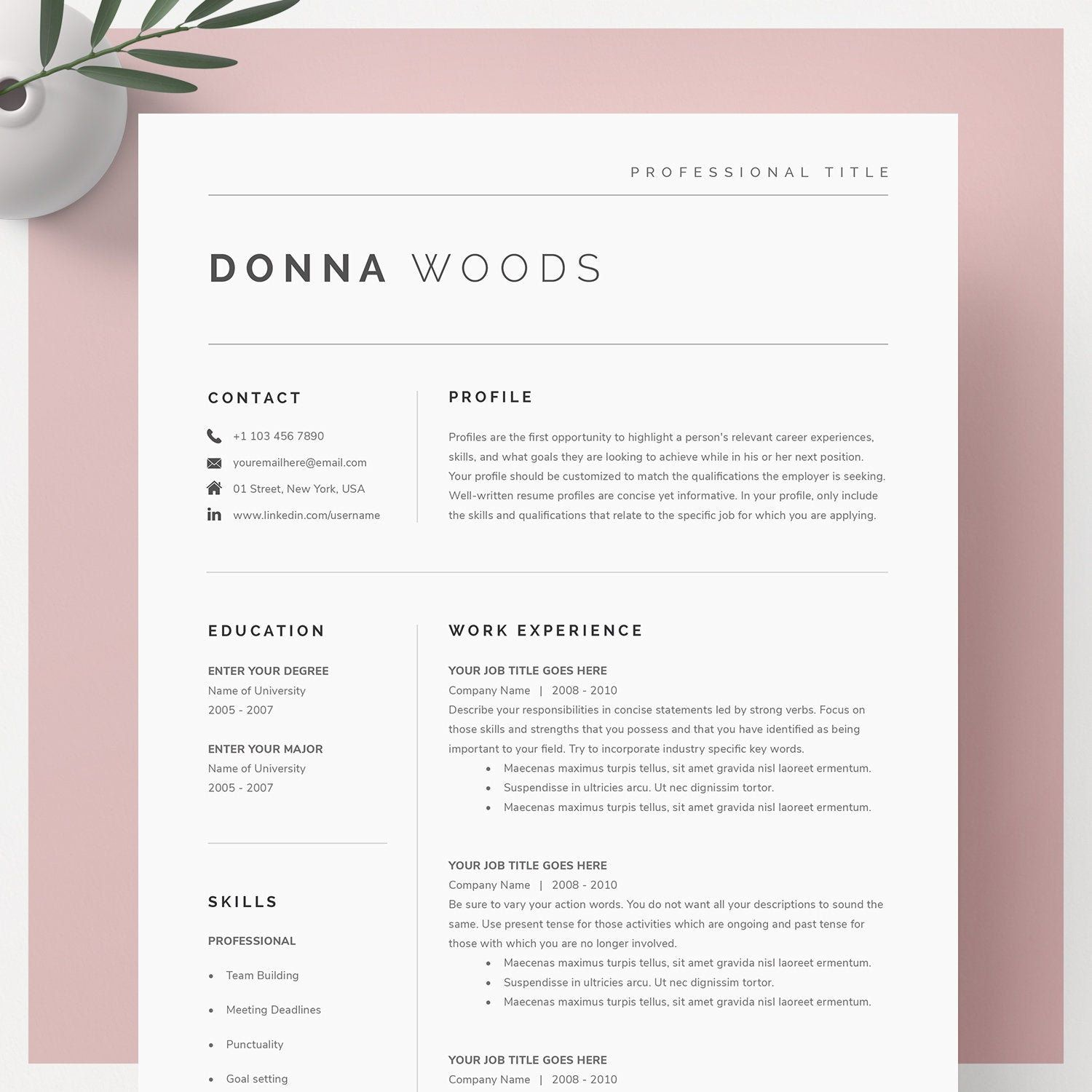Resume in word Template - 24+ Free Word, PDF Documents Download | Free & Premium Templates