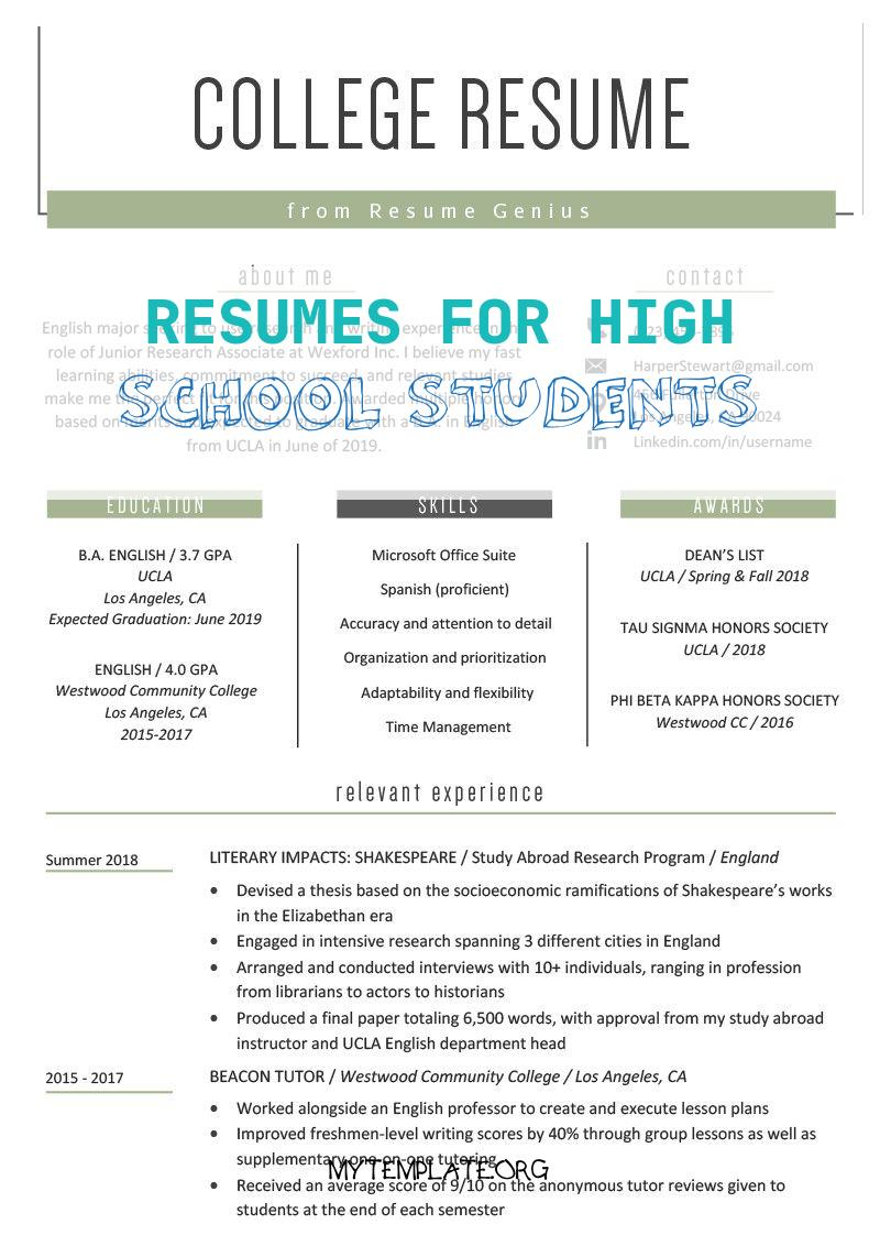 resumes for high school students of high school student