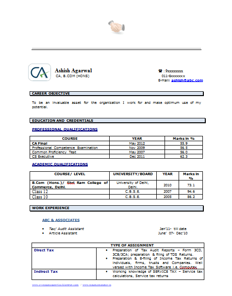 Example Template of an Experienced Chartered Accountant Resume with Great Job Profile and Career Objective Professional Curriculum Vitae with Free Download in Word Doc PDF 2 Page Resume Read More for Viewing and Downloading the Sample Download as many CV s for MBA CA CS Engineer Fresher Experienced etc Do Like us on for all Future Updates